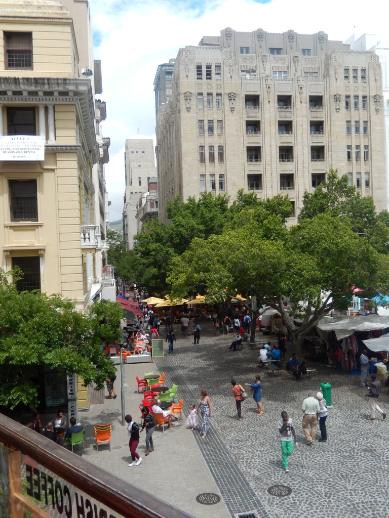 Green Market Square, an open air market in Cape Town, South Africa.